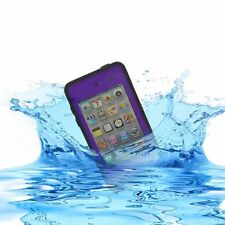 Purple Black Waterproof Shockproof Case For Apple iPod Touch 4G 4th Gen + Stylus