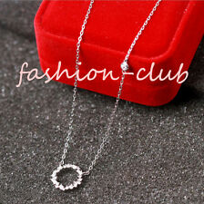 Korean Women's Silver Plated Ring Circle Pendant Crystal Clavicle Chain Necklace