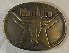 Solid Brass Marlboro Belt Buckle Texas Longhorn Star Philip Morris 1980s Vintage