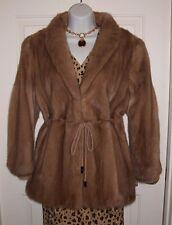 ALAN FURS Autumn Haze Lt Brown/Beige Mink Fur Mid-Length Jacket Coat L Petite