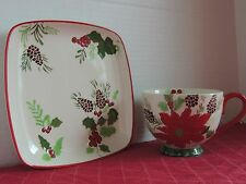 Dutch Wax HAPPY HOLIDAY Handpainted Stoneware 2Pc Soup Sandwich Cup & Plate Set