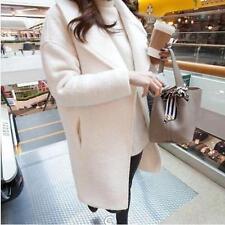 Lady Women Loose Lapel Wool Blend Winter Trench Coat Outwear Long Sleeve B921