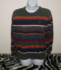 MENS TOMMY HILFIGER STRIPED SWEATER PULLOVER CREWNECK GRAY ORANGE SHIRT SMALL S