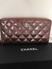 NWT Chanel 2012 Limited Edition Dark Pink patent leather zip around wallet!