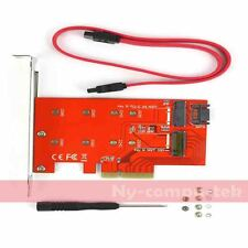2 Port NGFF M.2 B + M Key SSD to PCI-E PCI Express 4X Adapter Converter Card