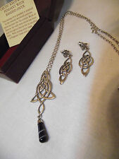 PAST TIMES Sterling Silver Celtic Knotwork Onyx Pendant Necklace & Earrings