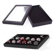 Hot Fashion Ring Storage Ear Display Box Jewelry Plastic Window Holder Show Case