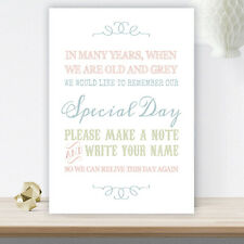 Pastel Coloured Wedding Guest Book Table Sign On White Card (C23)