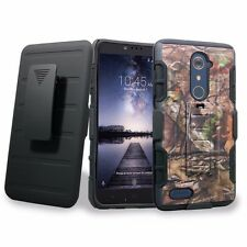 For ZTE ZMax Pro / ZTE Carry Rugged Shockproof Case Belt Clip Holster kickstand