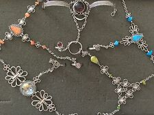 5  NEW SILVER ALPACA BRACELETS  WITH RING ATTACHED