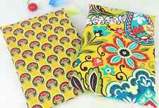 New  2pcsFQ cotton fabric/material yellow 50x50 cm floral quilting crafts sewing