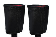 BLACK STITCHING 2X FRONT SEAT BELT LEATHER COVERS FITS PEUGEOT 1007 2005-2009