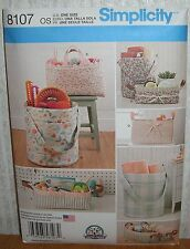 Crafts Hobbies Organizers Bucket Tote Basket Sewing Pattern/Simplicity 8107/UCN
