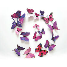 Rose 12Pcs 3D Butterfly Wall Decals Home Room Curtain Stickers Decorations @W