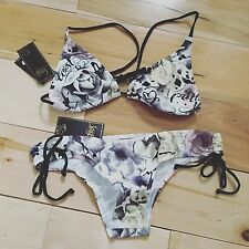 LOST ROSEY WHITE Tall Triangle Top Tunnel Tie Bottom Bikini Set Size Large Swim