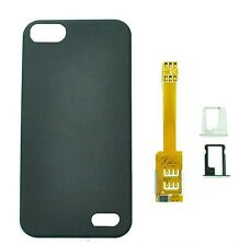 Dual Double SIM Card Adapter Converter +Back Case, Trays for Apple iPhone 5
