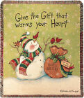 Give The Gift That Warms Your Heart Snowman w/Cardinal Christmas Tapestry Throw