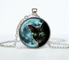 Vintage CAT Cabochon Silver plated Glass Chain 25mm Pendant Necklace #05