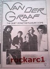 VAN DER GRAAF GENERATOR Quiet Zone album 1977  UK Press ADVERT 10x7 inches