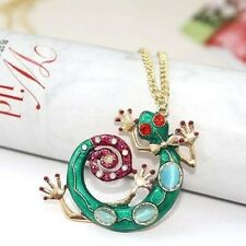 Fashion Design Colorful Green Crystal Gecko Lizard Pendant Necklace