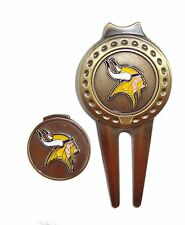 Minnesota Vikings Hat Clip & Divot Tool with Golf Ball Marker Combo