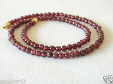 "Genuine RED GARNET STONE 4mm COLLANA 4 mm Perline Rosse 16 ""Lunghezza Pietra Naturale"