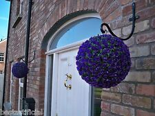 2 Best Artificial 28cm Purple Rose Topiary Hanging Flower Balls Grass Plant New