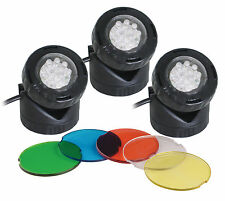 Set of 3 Fully submersible LED 1.6w Pond or Garden Lights with Light Sensor