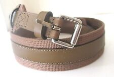 New Gucci Men's $340 341744 brown Fabric Leather Logo Buckle Belt 90   36
