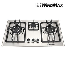28'' Siliver Stainless Steel 3 Burner Built-In Gas Cooktop Stove LPG  NG Gas Hob