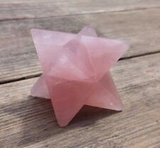 LARGE (50mm) ROSE QUARTZ GEMSTONE MERKABA STAR (ONE) - BUY IT NOW