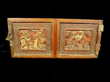 TWO ANTIQUE CARVED CHINESE CABINET DOOR PANELS W/ FOUR FIGURAL SCENES CIRCA 1850