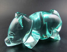 ART GLASS CLEAR TURQUOISE COLOR GLASS PIG FIGURINE PAPERWEIGHT (W5-1)