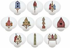 Set of 10 Country Birdhouses CERAMIC Drawer Pulls Dresser Drawer Cabinet Knobs