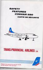 Trans Provincial Airlines (Canada) Convair 580 Safety Card - Rare