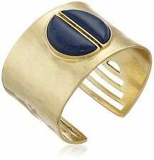AUTHENTIC Lucky Brand Gold-Tone Lapis Bold Cuff Bangle Bracelet RETAIL $69