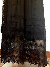 ANTIQUE VICTORIAN BLACK SATIN PETTICOAT & BLACK ORNATE LACE OVER SKIRT DRESS