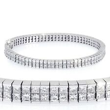7.70 Ct Princess Diamond 2Row Invisible Tennis Bracelet