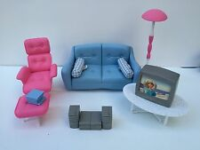 Barbie Furniture Living Room Couch Table TV Lamp Lounge Chair Stereo Mattel 1998