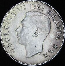 1950 Lines in 0 (Design) AU Canada Silver 50 Cents (Fifty, Half) - KM# 45 - JG