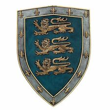 "18"" Tall Medieval Three Lions Royal Coat of Arms Shield Wall Plaque Figurine"