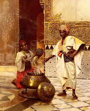 Oil painting rudolf ernst - in the alhambra arab portraits by incense on canvas