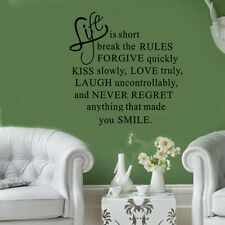 Life is short  break the rule Quote Wall Stickers Vinyl Decals Home Wall Decors