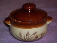 Vintage 2 Tone Brown Stoneware Bean Pot with Lid & Handles.  NEW NEVER UDED