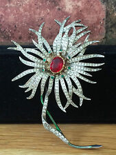VINTAGE 1960 CHRISTIAN DIOR COUTURE Diamante Strass floreale spilla pin