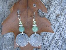 HANDMADE CUSTOM DESIGN 1950S BRITISH CARRIBEAN 10 CENT COIN EARRINGS (CDT0009)