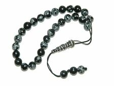 0149 - Snowflake Obsidian & Sterling Silver Prayer Beads Komboloi Loose Strung