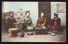 Japan Post Offices in China Tientsin 1911 postmark stamp Seated Geishas Postcard