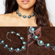 Women Chic Crystal Jewelry Pendant Chain Choker Chunky Statement Bib Necklace CC