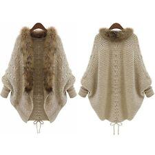 Damen Pelzkragen Wasserfall Cardigan Strickjacke Pullover Jacke Mantel Capes